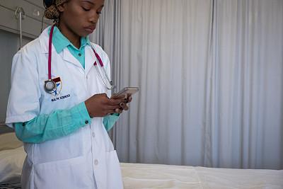 医科学生,非洲,手机,健康保健工作人员,专业人员,医药职业,肖像,技术,从容态度,现代
