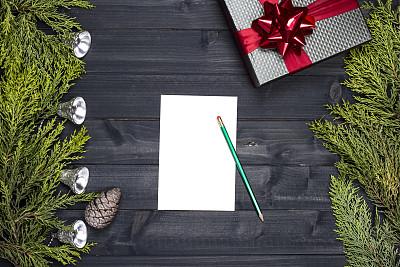 新年前夕,纸,空白的,传统,贺卡,圣诞装饰物,边框,圣诞卡,信函