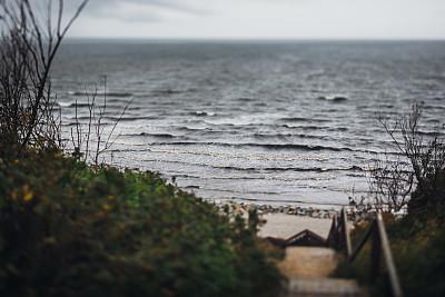 陡峭,楼梯,通向海滩,灰色,白昼,冷,寒冷,风,海岸线,波罗的海
