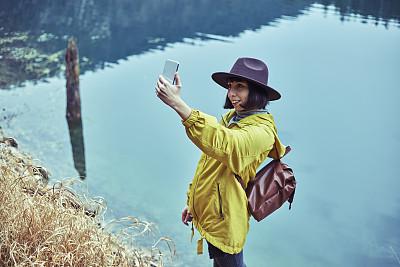 智能手机,女人,旅途,土耳其,肖像,技术,欢乐,户外,仅女人,仅一个女人