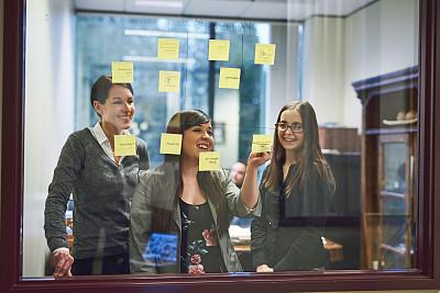 做计划,灵感,专业人员,部分,信函,仅女人,办公室,脑风暴,看,幸福