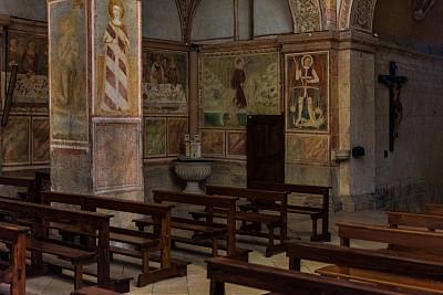 十字形,贝卢诺,过去,城镇,室内,图像,阿尔卑斯山脉,中世纪时代,无人,泥墙画