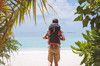 背包,旅游目的地,鸡尾酒,巨大的,青年男人,通向海滩,旅途,热带气候,印度洋,户外