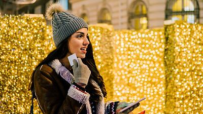 青年女人,在家购物,手套,圣诞装饰物,技术,广场,户外,仅女人,仅一个女人,信用卡