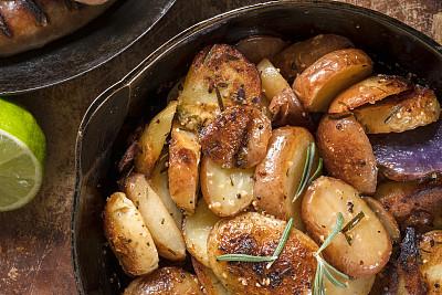 烤土豆,蔬菜,热,清新,烤的,食品,烤肉餐,乡村风格,酸橙,2018