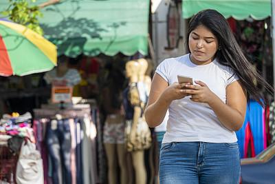 户外,手机,女孩,技术,简单,巴西,消息,仅女人,仅一个女人,少女