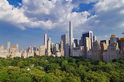 曼哈顿中心,中央公园,城市天际线,航拍视角,纽约,曼哈顿上西区,摩天大楼,图像,公园,美国