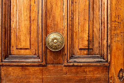 黄铜,把手,华丽的,青铜,平衡,古董,古典式,拿着,门厅,硬木