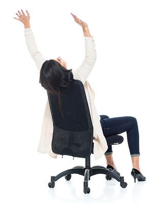 椅子,女性,青年人,办公椅,商务,背景分离,一个人,女性特质,女人