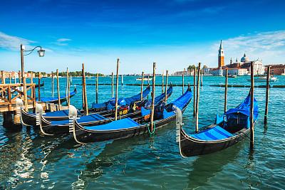 尖头平底船,威尼斯礁湖,过时的,旅途,云景,浪漫,云,复古风格,古典式,圣马可大钟塔