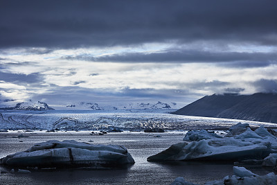 戏剧性的天空,冰川泻湖,阿拉斯加,山脊,云景,雪山,云,瓦特纳冰原,倒影湖,户外