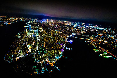 曼哈顿,夜晚,世界贸易中心,哈德逊河,高视角,看风景,接力赛,直升机,纽约,暗色