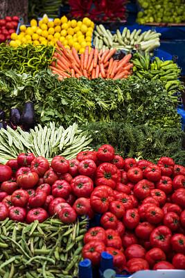 蔬菜,清新,农业市集,农业,土耳其,食品,食品杂货,椒类食物,绿辣椒,西红柿