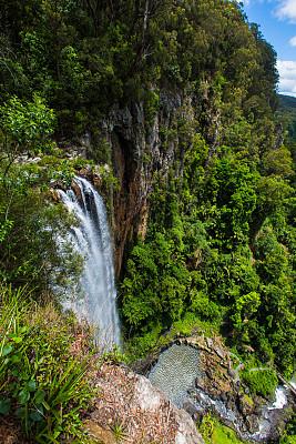 澳大利亚,黄金海岸,水洞湖,无人,垂直画幅,瀑布,昆士兰州,图像,户外,雨林