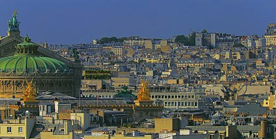 French Montmartre roofs architecture from above at sunrise – Paris, France
