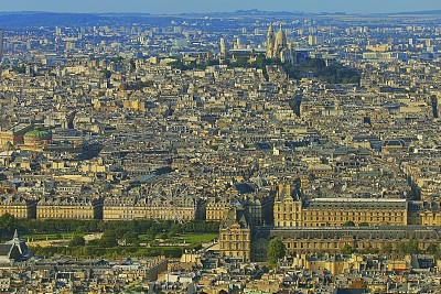 Sacre Coeur and Montmartre panorama from above – Paris aerial view, France