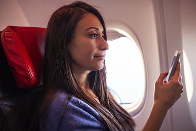 智能手机,女人,飞机,旅途,技术,仅女人,仅一个女人,女商人,信心