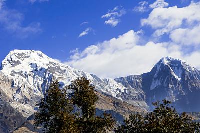 尼泊尔,安纳普纳生态保护区,喜马拉雅山脉,山顶,成年的,地形,户外,蓝色,顶部,自然美
