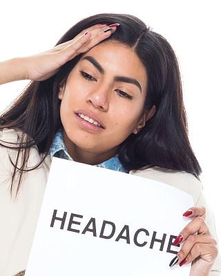 头痛,女性,青年人,噪声,办公椅,商务,背景分离,眩晕的,一个人
