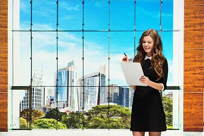 写字板,女商人,大厅,办公大楼,拿着,专业人员,检查表,25岁到29岁,商业金融和工业,澳大利亚