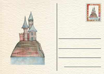 城堡,水彩画颜料,古董,著名景点,古典式,大写字母,童话故事,背景,哥特式风格,棕褐色调