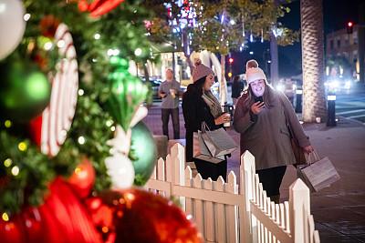夜晚,购物中心,热,圣诞装饰物,咖啡杯,羊毛帽,技术,顾客,儿童