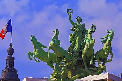 战车,亚历山大三世桥,法国,巴黎,大特写,纪念碑,天空,巴洛克风格,国际著名景点,著名景点