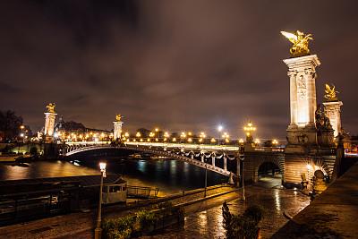 亚历山大三世桥,巴黎,国际著名景点,国内著名景点,城市生活,华丽的,当地著名景点,巴黎左岸,法国,曙暮光
