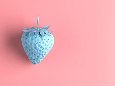 极简构图,草莓,可爱的,清新,一个物体,灵感,食品,环境保护,熟的,现代
