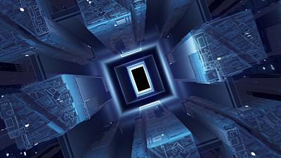 数字化显示,照明设备,隧道,母板,蓝色,冷,几何形状,暗色,颜色处理,技术
