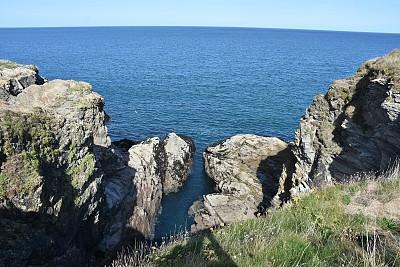 海岸线,戏剧性的天空,康沃尔,图像,岩石海岸线,英国,大西洋,无人,水平线,悬崖