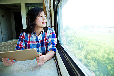 火车,青年女人,使用平板电脑,在活动中,旅途,技术,透过窗户往外看,中国,拿着,中国人