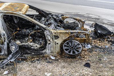 烧毁的,损坏的,火,路,汽车,化石,户外,金属质感,金属