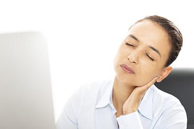 脖子,痛苦,商务,经理,专业人员,计算机,一个人,技术,女人,青年女人