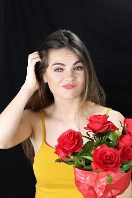 玫瑰,面部表情,浪漫,肖像,仅女人,仅一个女人,注视镜头,瑞士,面部扭曲,蓝色眼睛