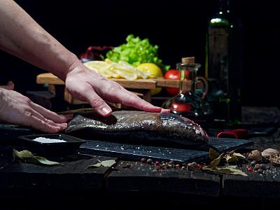 完整,三文鱼,准备食物,蔬菜,晚餐,海产,健康食物,饮食,食品,图像