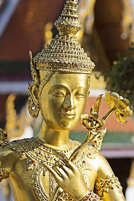 黄金,泰国,曼谷,雕塑,建筑结构,玉佛寺,垂直画幅,图像,艺术,著名景点