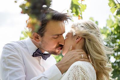 婚礼,伴侣,浪漫,有蔓植物,夏天,意大利,幸福,婚纱,自然