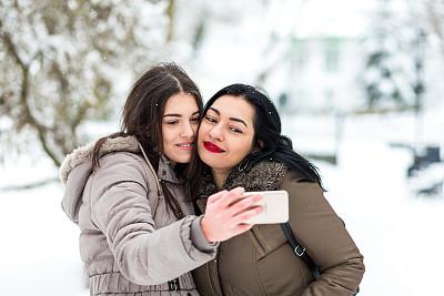 幸福,雪,母女,家庭,肖像,技术,公园,户外,少女,拍摄场景