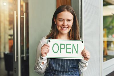 商务,开着的,部分,营业标志,肖像,拿着,食饮供应,咖啡师,女招待,仅女人