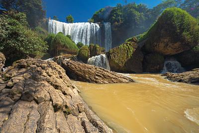 瀑布,越南,自然美,气候,大叻,热带气候,禅宗,流水,植物,河流