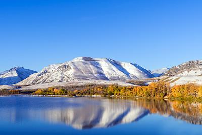 秋天,阿尔伯塔省,叶子,黎明,加拿大,对称,山口,曙暮光,林区,加拿大落基山脉
