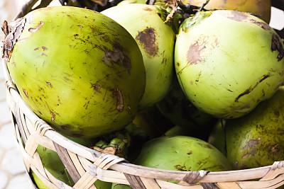 椰子,篮子,清新,绿色,机织织物,农业,华贵,热带气候,泰国,果汁