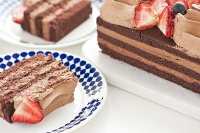 巧克力蛋糕,夹心蛋糕,奶泡,清新,海绵蛋糕,蛋糕,装饰菜,食品,蓝莓,浆果