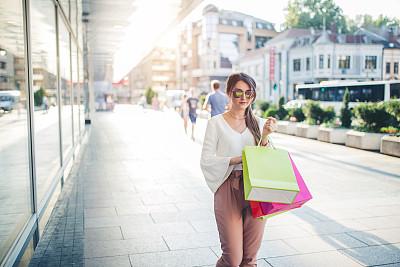 现代,女孩,购物袋,伦敦城,拿着,顾客,儿童,商业活动,欢乐,户外