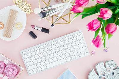 美,计算机键盘,女人,背景,书桌,平铺,视角,辛勤工作,边框,技术