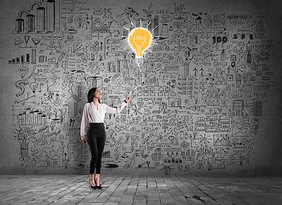 商业规划,女商人,墙,商务,经理,策略,灵感,一个人,女人,青年女人