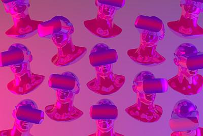 色彩渐变,霓虹灯,虚拟现实,数字化显示,技术,破土动工,可穿戴设备,三维图形,图形界面,使用电脑
