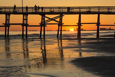 码头,商用码头,曙暮光,环境,橙色,黄昏,北卡罗来纳,南卡罗来那,外海岸,海浪