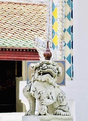 泰国,曼谷,狮子,雕像,玉佛寺,佛,白灰泥,石材,华丽的,远古的